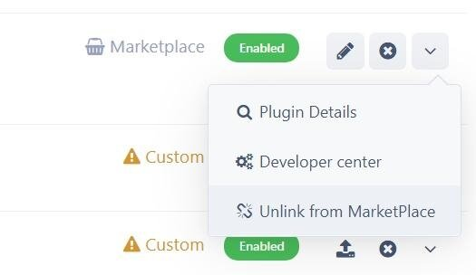 پلاگین Unlink from Marketplace